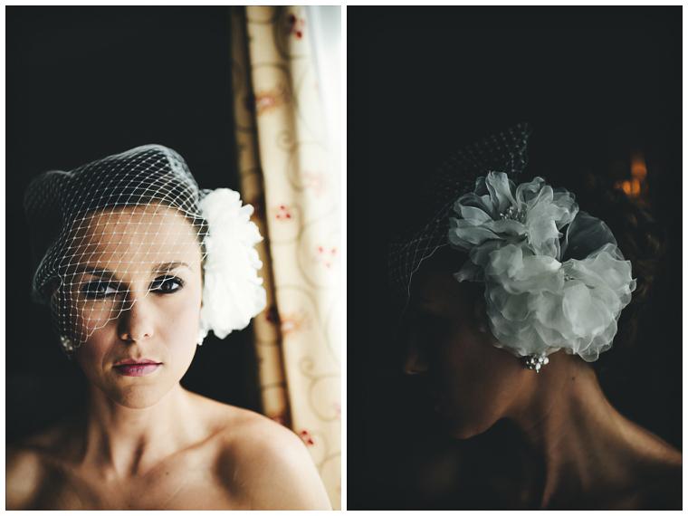 bridal portrait with birdcage veil