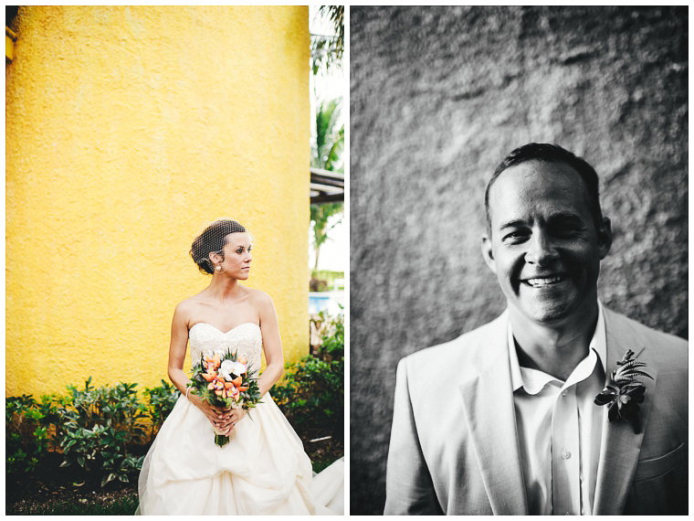 bride and groom in Cozumel