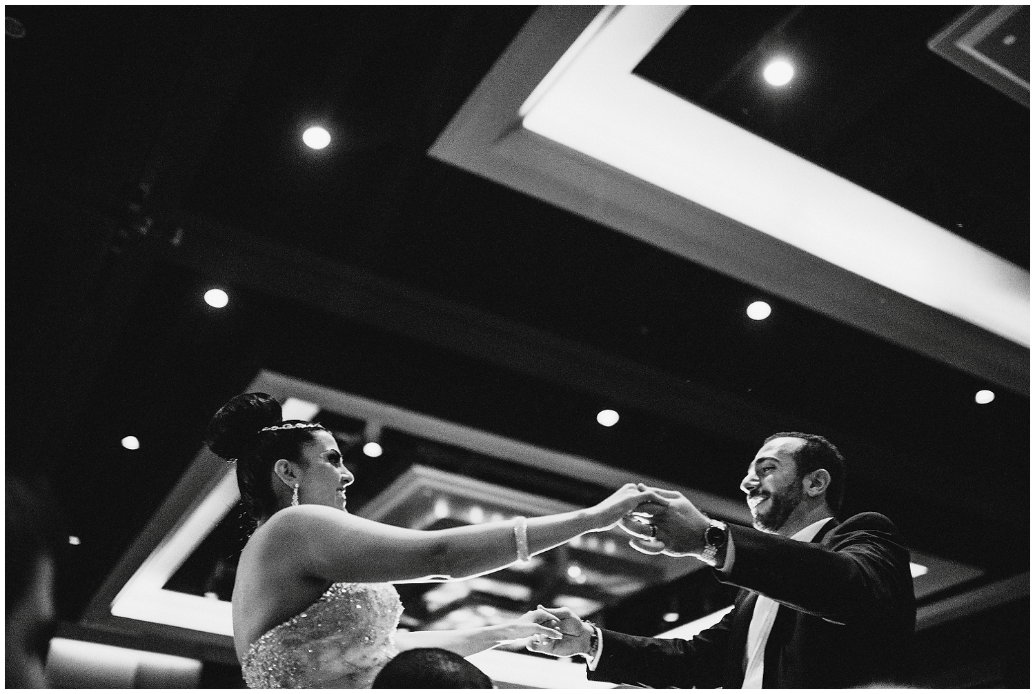 Black and white Wedding Photographer in The Hilton Americas