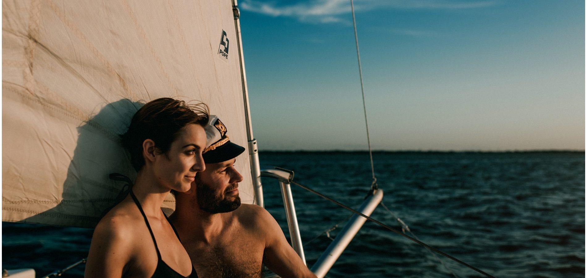 On a catamaran in Galveston Bay