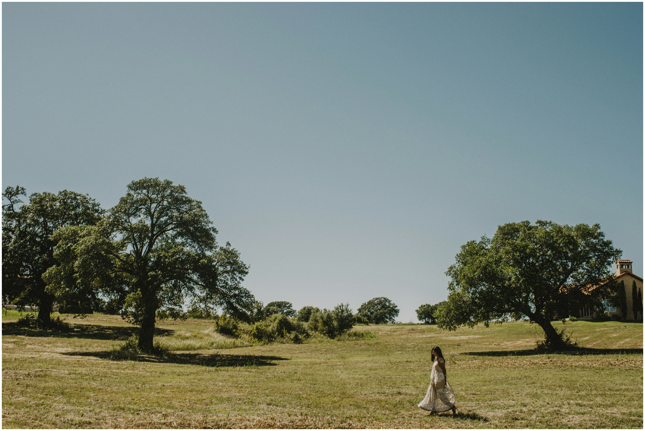 bride walks to meet her groom