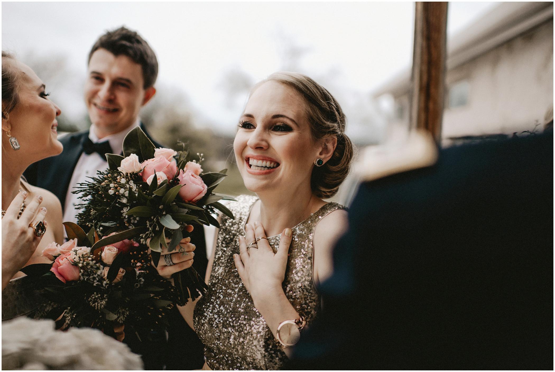 beaming bridesmaid