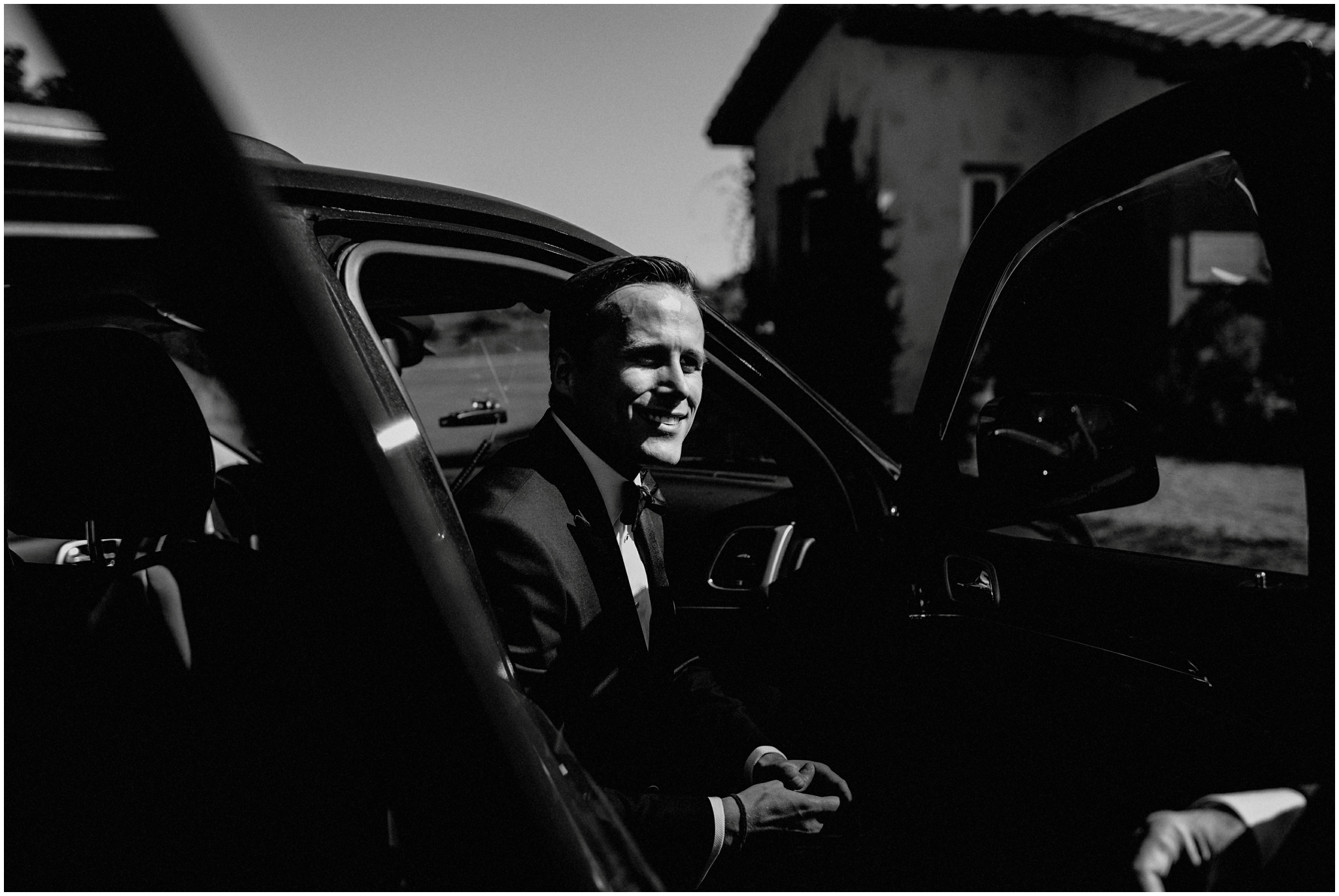Black and white Groom Photography Texas